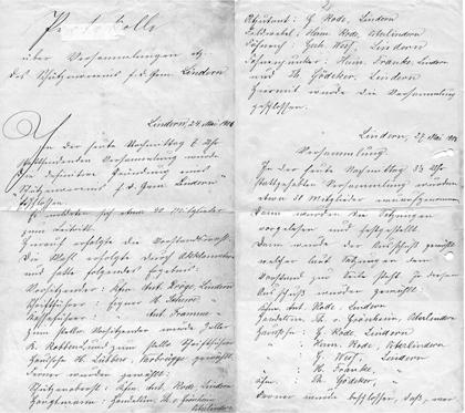 Handschriftlichs Gründungsprotokoll vom 24. Mai 1905
