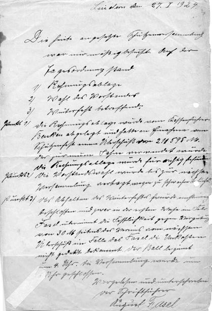 Protokoll der Schützenversammlung aus dem Jahre 1924