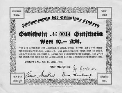 Gutschein aus dem Jahre 1932